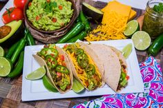 Delicious Bison Tacos with guacamole by NFL running back Matt Forte and his wife Danielle Forte! Looking for more healthy recipes? Tune in to Home & Family weekdays at on Hallmark Channel! Cooking A Roast, Healthy Cooking, Cooking Recipes, Healthy Recipes, Cooking Rice, Mexican Food Recipes, Ethnic Recipes, Mexican Meals, Cinco De Mayo