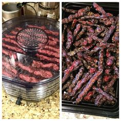 Homemade chicken liver and ground beef jerky treats for my dogs! Recipe taken…