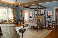 """2010 RSOL Designer House, """"Rothesay on the James"""" the Master Bedroom designed by David Ballas Interiors; painted faux tray ceiling and all painted mill work by Barden's Decorating; Venetian Plaster handcrafted by Melanie Palma Designs. Photo taken by John Magor Photography"""