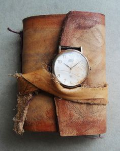 Ancient timeless Art journal. Handbound leather aged, burnt pages. Small rustic pocket journal. brown with clock.