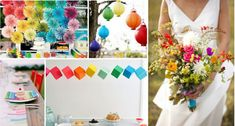 rainbow wedding colors, de lovely Affair wedding blog, multicultural weddings, DIY wedding ideas, wedding lanterns, suspended wedding decor, wildflower wedding bouquet wedding cupcakes, wedding trend, rainbow bridesmaid dresses, colorful bridal bouquet