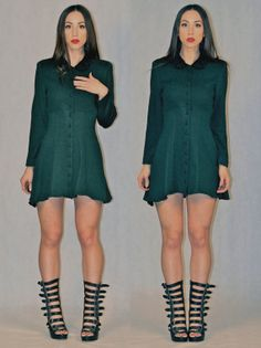 GREEN gothy BABYDOLL dress by geminatevintage on Etsy, $35.00