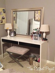 Ikea Hack - desk into vanity. Lol I have done this already. Same desk.