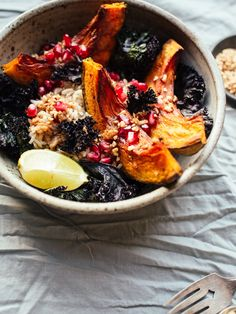 Squash crispy kale bowls with pomegranate and miso ginger dressing