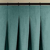 Pair panels) designer drapes, inverted pleats solid color linen with contrast grosgrain trim, white and black, or choose color