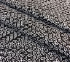 Tissu Saki 25x160cm motif japonais étoiles Asanoha noir : Tissus à thème par nadege-tissus