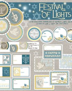 These great Hanukkah Labels  are designed @Erin Rippy - Ink Tree Press There are in fillable PDF templates and are FREE for downloading. Print them on your laser and inkjet printers.