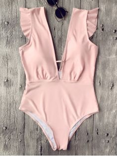 Ruffles Plunging Neck One Piece Swimsuit - Pink $22.99 From zaful.com