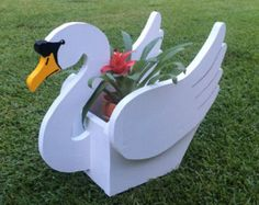 Wooden Handmade Animal Planter - Swan