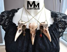 WarriorCrow crow skull necklace pendant with Steampunk cogs or ruby crystal Mortiis.M on Etsy, $31.98