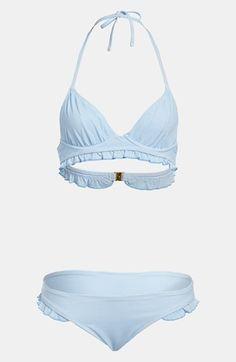 Topshop Seersucker Ruffle Trim Bikini available at #Nordstrom