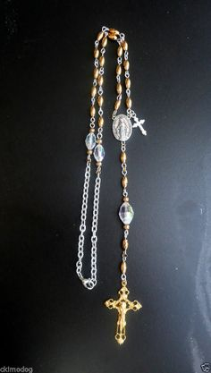 ARTISAN GOLD AND STERLING PLATE SILVER MIRACULOUS VINTAGE CRYSTAL TRAVEL ROSARY