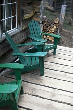 Green Adirondack chairs.  I used to have these chairs painted yellow and the ex just gave them away : (
