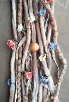 10pc Tie-Dye Wool Flower Maiden Dreads with by PurpleFinchStore