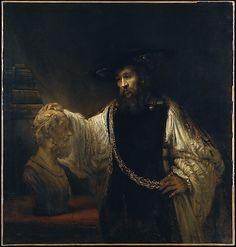 Dutch Painter: Rembrandt van Rijn,     (1606–1669),  'portrait of Aristotle, the Greek philosopher'   Date:1653  oil on canvas  56 1/2 x 53 3/4 in.
