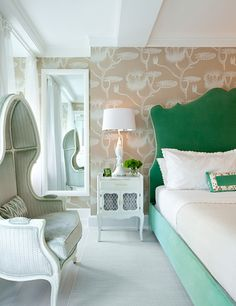 camel, white and shades of green (bedroom designed by Fawn Galli)