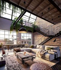 Urban Industrial Decor To A Stunning Place Wohnen im I. - Urban Industrial Decor To A Stunning Place Wohnen im Industrial Chic! Dream Home Design, Modern House Design, Cool House Designs, My Dream Home, Modern Houses, Dream Life, Glass House Design, Luxury Houses, New Yorker Loft