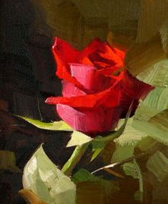 rose qiang-huang, a daily painter: Red Rose 3 --- Sold