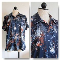 Jaylan of California Navy Blue Vintage Mod Polyester Floral Button Up Short Sleeve Blouse Shirt- 42 from VintageHag.com