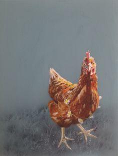 Chicken painting, chicken art, hen artwork on canvas