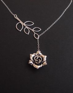 Silver Rose Delicate Leaf Necklace Lariat STERLING SILVER -Birthday Annviersary Gift Simple Elegant Everyday Jewelry