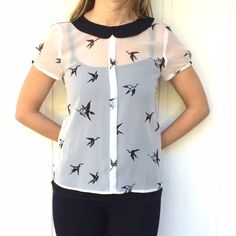 Bird blouse White with black Peter Pan collar sheer blouse • bird motif • button closure in the back • cap sleeves Philosophy Tops Blouses