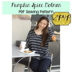 The Pumpkin Spice Dolman gets an Update! Pumpkin Spice Dolman pdf sewing pattern by p4p patterns for pirates women's juniors ladies shirt blouse knit top tunic loose