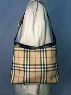 Burberry Leather & Coated Canvas Bag/Tote Sexy & LUXE  Nova Check Auth. CHIC!!!!