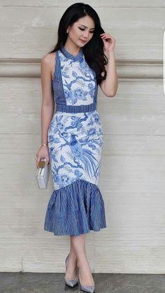 Batik Kebaya, Kebaya Dress, Batik Dress, Batik Fashion, All Fashion, Fashion Outfits, Womens Fashion, Simple Dresses, Short Dresses
