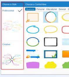 Choisissez désormais entre deux styles sur iMindMap : Professional ou Creative.  Dès l'ouverture d'une nouvelle carte, une fenêtre de dialogue vous propose le choix entre deux nouveaux styles.