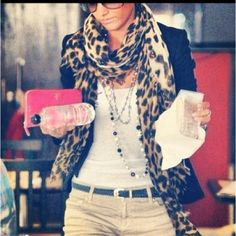 leopard scarf w/khaki pants, black blazer, white tee pink clutch - this truly might be the only way to wear khakis without looking like you work at WalMart.