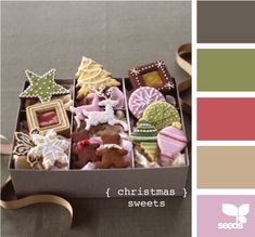 Christmas sweets colour scheme. I like the idea of using the brown shades for the base and accenting with the others.