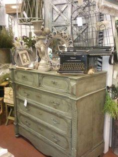 Sage Green Chalk Paint Vintage Dresser Old Typewriter