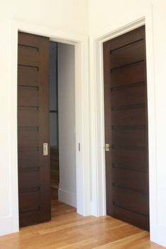 I love the contrast and how the doors are so unique. That's not something you really think about but I think unique doors are a cheap easy way to make a space more interesting Interior Pocket Doors, Interior Barn Doors, Exterior Doors, Craftsman Interior, The Doors, Sliding Doors, Entry Doors, Front Doors, Panel Doors