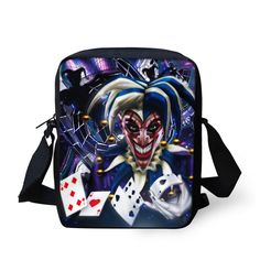 2017 New Children Clown Poker Card Printed Messenger Bag Small Book Bags for Boys Shoulder School Kids Bag Sool Mens Bags