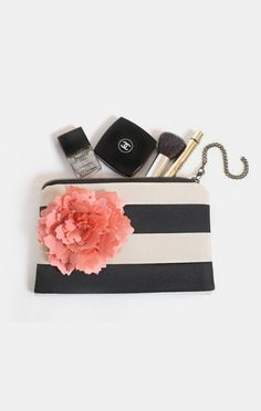 Black Stripe clutch purse