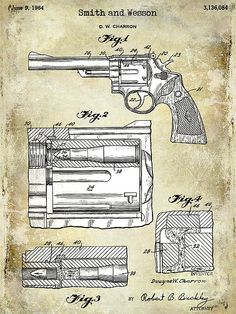Gas Cutting Prevention In Revolver Firearms Patent Print Art Poster Old Look x Smith And Wesson Revolvers, Revolver Pistol, Patent Drawing, Patent Prints, Guns And Ammo, Airsoft, Easy Drawings, Firearms, Vintage Posters