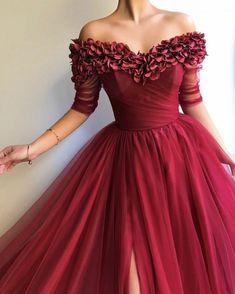 Burgundy Short Sleeve Tulle Long Prom Dresses, Burgundy Evening Party Dress - Evening Dresses and Fashion Best Prom Dresses, Dresses Short, Trendy Dresses, Sexy Dresses, Evening Dresses, Elegant Dresses, Summer Dresses, Wedding Dresses, Formal Dresses