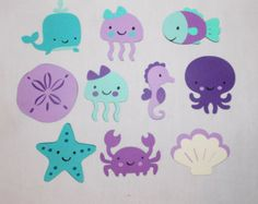 teal and turquoise Under the Sea Nursery | Medium Under the Sea Purple and Teal Die cuts Choose all 1 kind or any ...