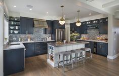 This old classic shingle-style home - blue and copper decor - Home Decorating Trends - Homedit Kitchen Interior, Home Decor Kitchen, Coastal Kitchen, Kitchen Remodel, Kitchen Decor, New Kitchen, Home Kitchens, Kitchen Renovation, Kitchen Design