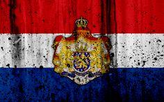 Download wallpapers Netherlandish flag, 4k, grunge, flag of Netherlands, Europe, Netherlands, national symbolism, coat of arms of Netherlands, Netherlandish coat of arms