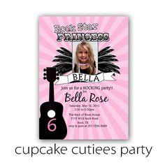 Rock Star Princess Pink Photo  Digital Custom Invitation Card Printable u print. $12.00, via Etsy.