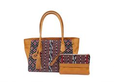Set of Handmade Leather Tote Bag Combined with Ikat Woven