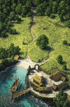Sanctum I: The Salty Shores von Ondřej Hrdina: ImaginaryDwellings, Fantasy Village, Fantasy City, Fantasy Castle, Fantasy Places, Fantasy Map, Medieval Fantasy, Fantasy World, Fantasy Art Landscapes, Fantasy Landscape