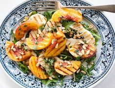 Grilled peach and halloumi salad: Recipes: Good Food Channel Easy Salad Recipes, Easy Salads, Dinner Recipes, Healthy Recipes, Haloumi Salad, Halloumi, Haloumi Cheese, Goat Cheese, Grilled Peach Salad
