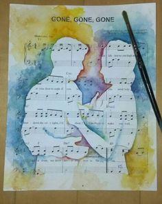 Kunst Bilder ideen - Fine Art Watercolor Silhouette Custom painting on Sheet Music Sketchbook Layout, Gcse Art Sketchbook, Sketchbook Ideas, Print Sheet Music, Sheet Music Art, Music Silhouette, Art Watercolor, European Paintings, A Level Art