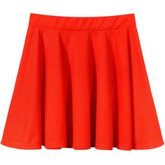 Yoins Orange Skater Skirt ($10) ❤ liked on Polyvore featuring skirts, orange, high-waisted flared skirts, knee length pleated skirt, high waisted pleated skirt, red skirt and flared skirt