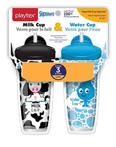 Playtex Sipsters Stage 3 Milk and Water Spill-Proof, Leak-Proof, Break-Proof Insulated Toddler Straw Sippy Cup Set, 9 Ounce - 2 Count Cup With Straw, Cute Cups, Cupping Set, Baby Bottles, Baby Feeding, Baby Care, Milk, Sippy Cups, Water