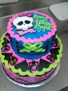 Monster high tiered cake