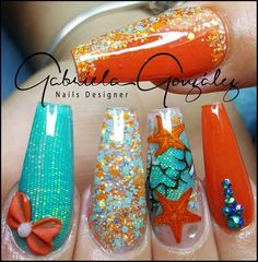 Nails and Artistic Nail Styles Beautiful Nail Designs, Cute Nail Designs, Fabulous Nails, Gorgeous Nails, Cute Nails, Pretty Nails, Jolie Nail Art, Sea Nails, Mermaid Nails